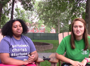 Two young women giving us an interview